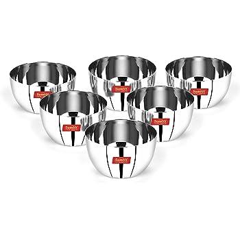 Sumeet Heavy Gauge Stainless Steel Big Size Apple Bowl/Wati/Katori with Mirror Finish – 9.8cm Dia, Set of 6pc, 300ML Each