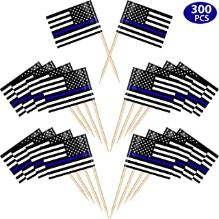 Blulu 300 Pieces American Police Flags Cupcake Toppers American Police Toothpicks Cake Picks Bar Cocktail Picks Thin Blue Line USA American Police Flags for Police Party Celebration
