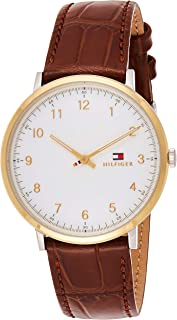 TH WATCH MEN'S WHITE DIAL HONEY BROWN LEATHER WATCH - 1791340