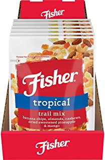 Fisher Snack Tropical Trail Mix, 3.5oz (Pack of 6) Banana Chips, Almonds, Cashews, Dried Sweetened Pineapple & Mango Tropi...