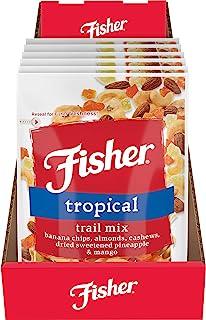 FISHER Snack Tropical Trail Mix, 3.5 oz Banana Chips, Almonds, Cashews, Dried Sweetened Pineapple & Mango (...