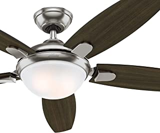 Hunter Fan 54' Contemporary Ceiling Fan with LED Light & Remote Control, Brushed Nickel Finish (Renewed)