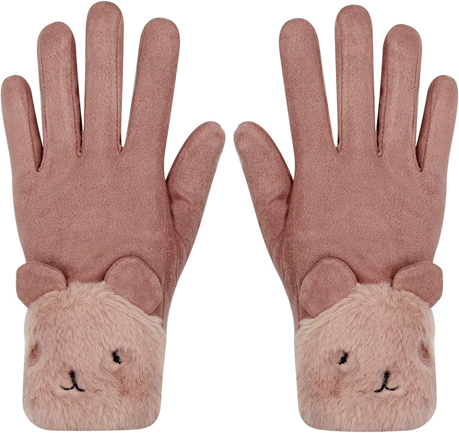 At the price of surprise Women Suede Touchscreen Cold Weather Lin Gloves Spring new work one after another Fleece Warm Cute