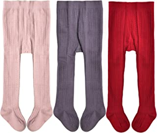 Baby Girls' Seamless Cable Knit Tights (Pack of 3)