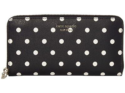 Kate Spade New York Spencer Cabana Dot Zip Around Continental Wallet (Black/Multi) Handbags