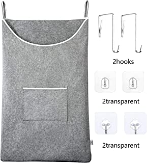 """KEEPJOY Door-Hanging Laundry Hamper Space Saving Bags with Stainless Steal and Adhesive Hooks, Thicken Waterproof Laundry Bag in Large Size 35""""22"""" for Luandry Over Door"""