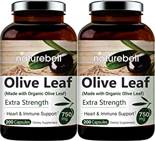 Made with Organic Olive Leaf Extract 750mg, 200 Capsules, Active Polyphenols and Oleuropei, Supports Immune System and Car...