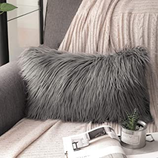 Phantoscope Luxury Series Throw Pillow Covers Faux Fur Mongolian Style Plush Cushion Case for Couch Bed and Chair, Grey 12 x 20 inches 30 x 50 cm