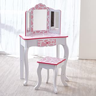 Teamson Kids - Fashion Prints Girls Vanity Table and Stool Set with Mirror - Giraffe (Baby Pink / White)