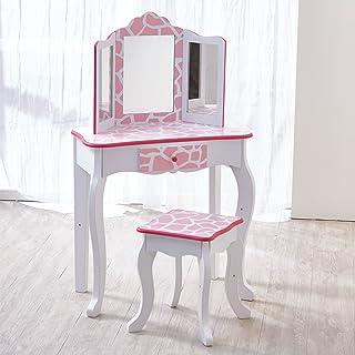 Fantasy Fields par Teamson Enfants Coiffeuse Bois Table Maquillage Miroir Tabouret TD-11670D