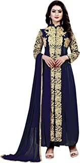 Ethnic Empire Women's Georgette Semi Stitched Salwar Suit(Ethnic_ER110124_ Blue_Free Size)