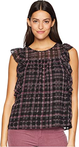 Ruffle Sleeve Sloan Plaid Blouse