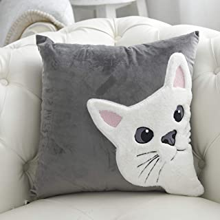 Little Funny Cat Throw Pillow Covers 3D White Cat Look at You Cat Pillow Cases Velvet Square Cushion Cover for Sofa Bed Car Couch 18x18 Inch Grey