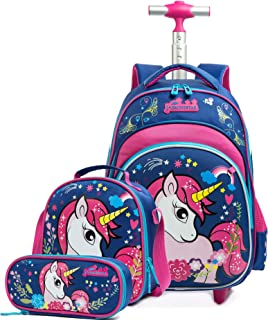 Girls Unicorn Rolling Backpacks Kids Backpack with Wheels for Girls School Bags with Lunch Box