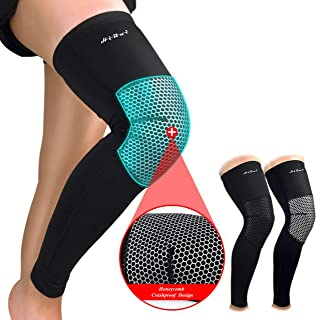 HiRui Knee Pad, Leg Sleeve Knee Brace Knee Support, Honeycomb Crashproof Basketball Kneepad Football Kneepad, Compression Leg Sleeves for Running, Cycling, Pain Relief, Unisex- Color as Shown (Single)
