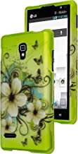 Optimus L9 Phone Case, Bastex Heavy Duty Green with White Hibiscus Flowers Design Snap On Case Cover for LG Optimus L9 P769