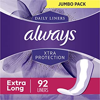 Always Xtra Protection Dailies Feminine Panty Liners for Women, Extra Long, 368 Count, Unscented (92 Count, Pack of 4 - 368 Count Total)