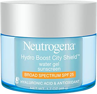 Neutrogena Hydro Boost City Shield Water Gel With Hydrating Hyaluronic Acid and Broad Spectrum SPF 25 Sunscreen, 1.7 Ounce
