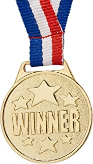 Juvale 24-Pack Bulk Olympic Style Gold Winner Award Medals with Ribbons for Sports, Competitions, Spelling Bees, Party Favors 1.5 Inches Diameter, 15.3 Inches Ribbon Length