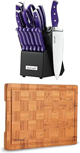 """lowest McCook MC27 Stainless Steel Knife Block Sets with Built-in Sharpener + discount MCW12 Bamboo 2021 Cutting Board (Small, 14""""x10""""x0.8"""") outlet sale"""