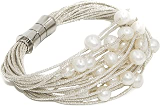 Bracciale da donna di perle d'acqua dolce coltivate da 6 a 6,5 mm Secret & You - Montato su cordino in tessuto di alta qua...