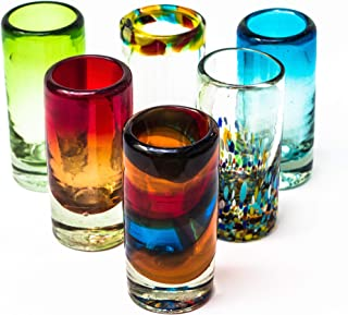 MEXICAN TEQUILA GLASS SHOTS - 6 Pack Novelty Design Multicolor Recycled Glassware Set Unique Artisan Crafted DISHWASHER SAFE Lead Free Hand Blown Vodka Scotch Whiskey Wine tots 2 oz. party supplies