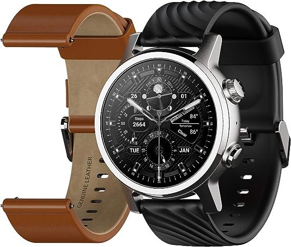 MOTO 360 3.ª Gen 2020 - Wear OS by Google - Pantalla Táctil - Smartwatch de Lujo de Acero Inoxidable - Correas de Cuero Genuino y Deportivas de Alto Impacto - Gris Acero