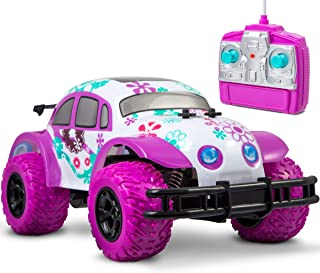 Sharper Image Pixie Cruiser Pink and Purple RC Remote Control Car Toy for Girls with Off-Road Grip Tires Princess Style Big Buggy Crawler w/Flowers D, M