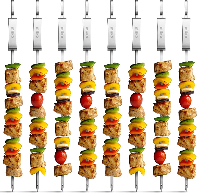 MiiKO Metal BBQ Kabob Skewers 8 Extra Long 16 Inch Stainless Steel Grill Skewers With Sliding Handles Recipe E Book