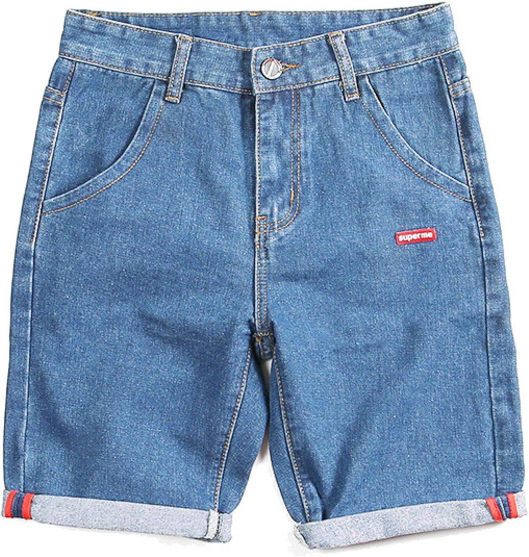 Beastle Men's Denim Shorts Spring and Summer New Loose Straight Fashion Denim Shorts