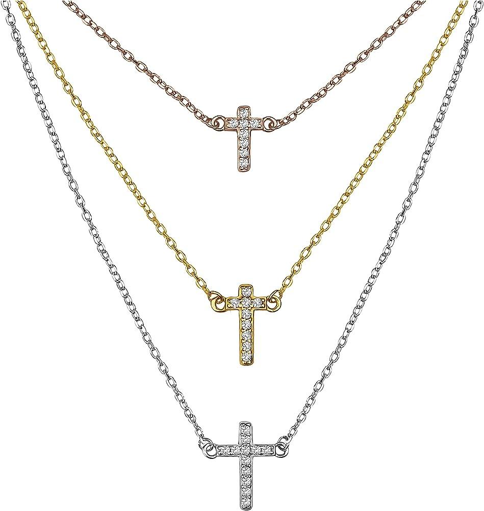 Sofia milani, collana per donna,in argento placcato oro, ciondolo con croce e zirconi 50237