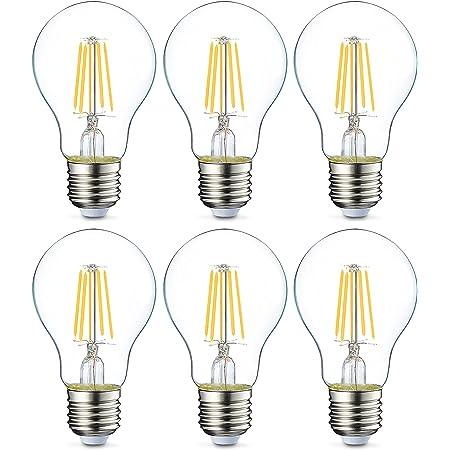 Amazon Basics Ampoule LED E27 A60 avec culot à vis, 4.3W (équivalent ampoule incandescente 40W), transparent avec filament - Lot de 6
