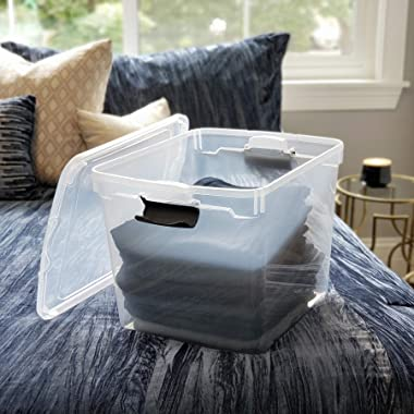 HOMZ Latching Clear Storage, 31 Quart, Gray, 4 Count