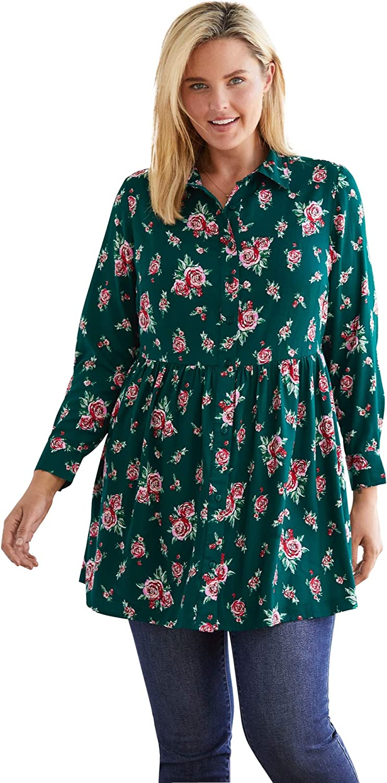 Woman Within Women's Plus Size Printed Maxi Button Down Tunic Blouse Shirt