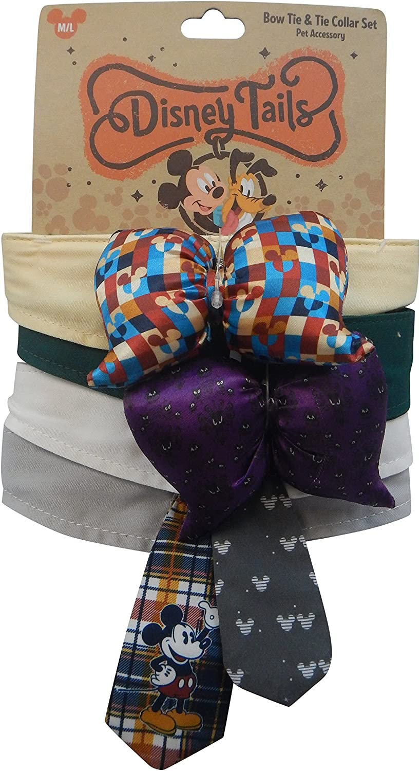 Disney Tails Haunted Mansion Mickey Mouse Dog Bow Collar and Tie Set of 4 Size M L by Disney