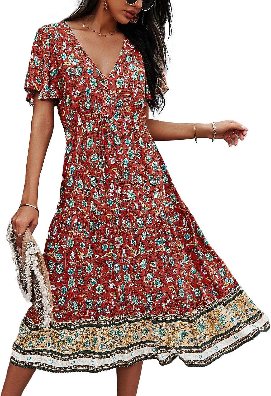 TEMOFON Women's Dresses Summer Max 87% OFF Bohemian Flor Short 40% OFF Cheap Sale Sleeve Casual