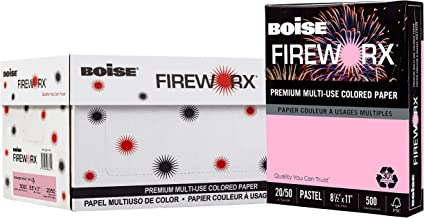 BOISE FIREWORX Premium Multi-Use Colored Paper, 8.5 x 11, Powder Pink, 20 lb, 10 ream carton (5,000 Sheets)