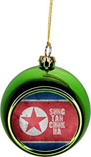 Jacks Outlet Korea Ornament - Korea Christmas Ornament Flag North Korea - Korean - Sung Tan Chuk Ha Ornament Christmas Décor Green Ball Ornaments