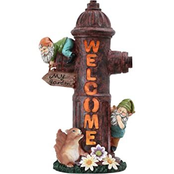 TERESA'S COLLECTIONS 15 Inch Fire Hydrant Garden Sculptures Statues, Puppy Dog Pee Training Post Garden Figurines with Solar Powered Garden Lights for Outdoor Halloween Fall Patio Yard Decorations
