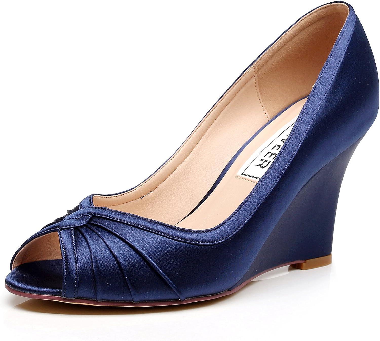 LUXVEER Satin Wedding shoes Bridal shoes Women shoes Wedding Wedges Peep Toe,Medium Heels 3.5 inch