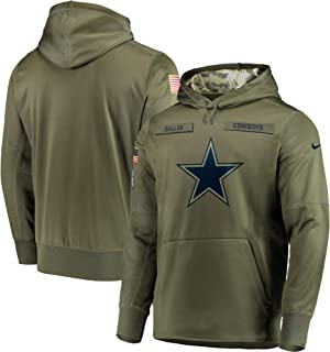 Men's Dallas Cowboys Salute to Service Sideline Therma Performance Pullover Hoodie - Olive (X-Large)