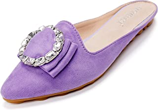 Cattle Shop Women's Pointed Toe Bohemian Rhinestone Mules Slip-on Shoes Flats Loafers Wallking Slippers