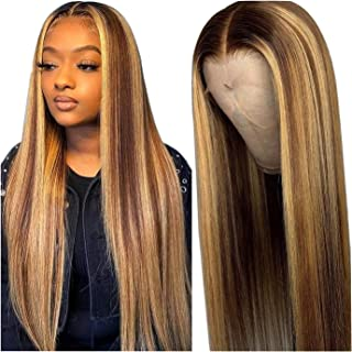 MEI XU Wig 13x6 Straight Highlight 4/27 Colored Lace Front Wigs Honey Blonde Full Highlight Lace Front Human Hair Wigs Ela...