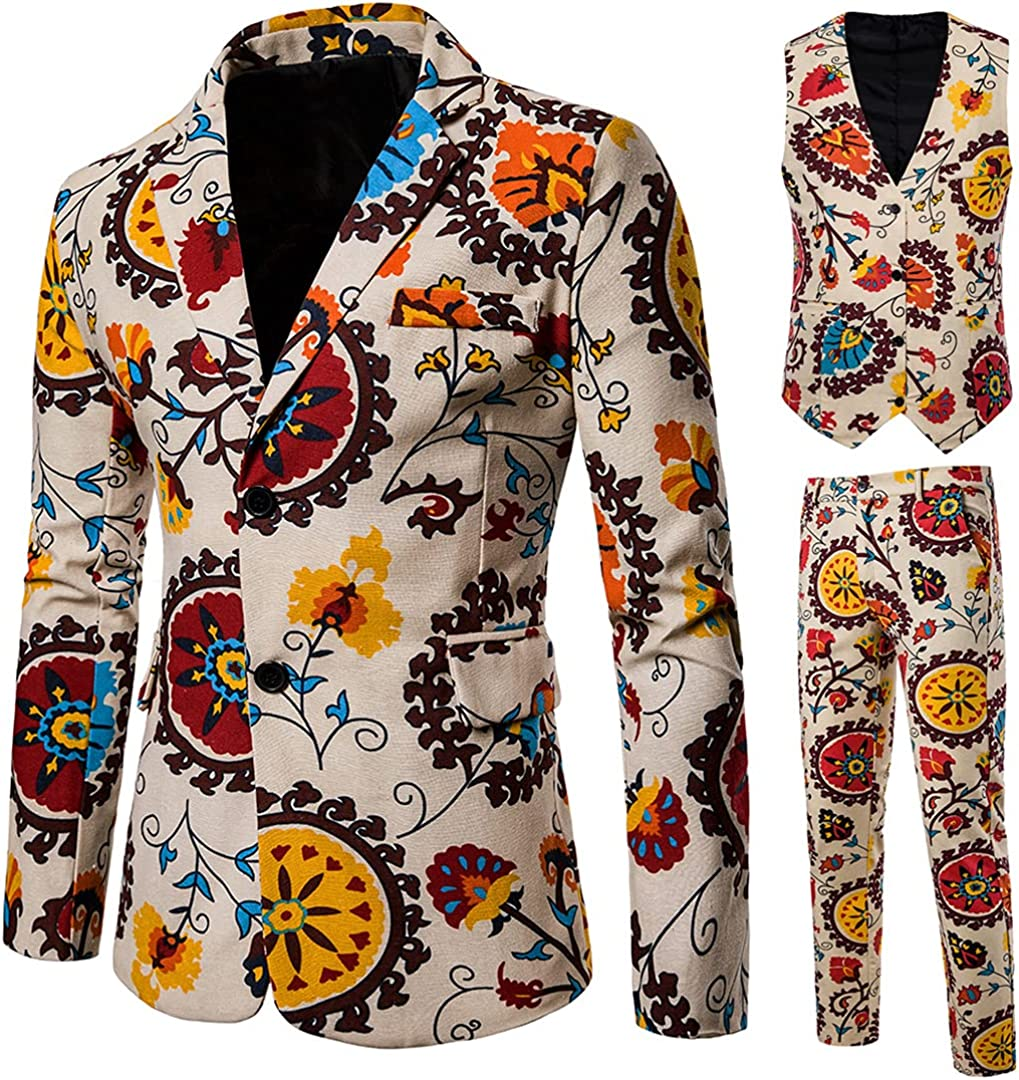 Renost Men African Style Printing Suits 3 Pieces Ethnic Style Casual Slim Fit Two-Buttons Wedding Suits