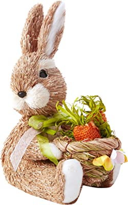 "WORTH IMPORTS 9"" Sitting Bunny W/Basket Figurine, Orange,Yellow,White,Baige"