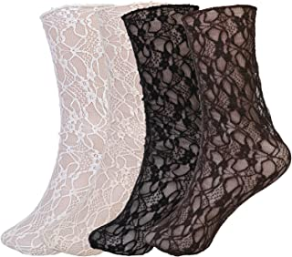 Jixin4you Women's Decorated Mesh Lace Sheer Loose Socks, See Through Elastic Floral Ankle Frilly Socks