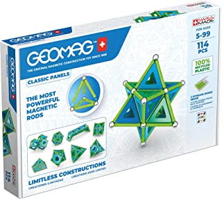 Geomag - Classic Panels 114 Pieces- Magnetic Construction for Children - Green Collection - 100% Recycled Plastic Educatio...