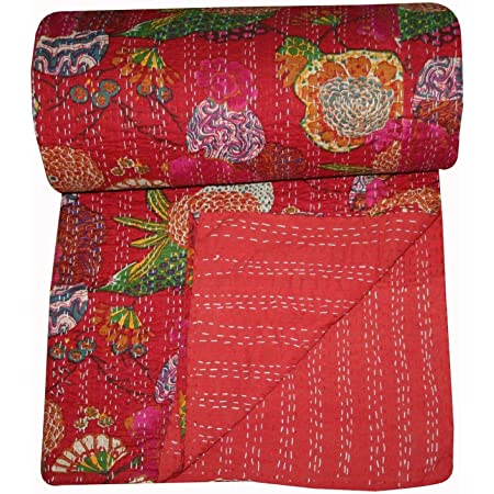 Details about  /Handmade Floral Kantha Embroidery Queen Blanket Throw Indian Bedspread