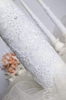 White lace wedding unity candle set Pearl unity candle Wedding unity idea