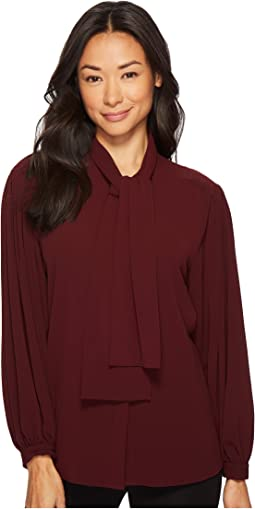 Vince Camuto - Long Sleeve Tie Neck Blouse
